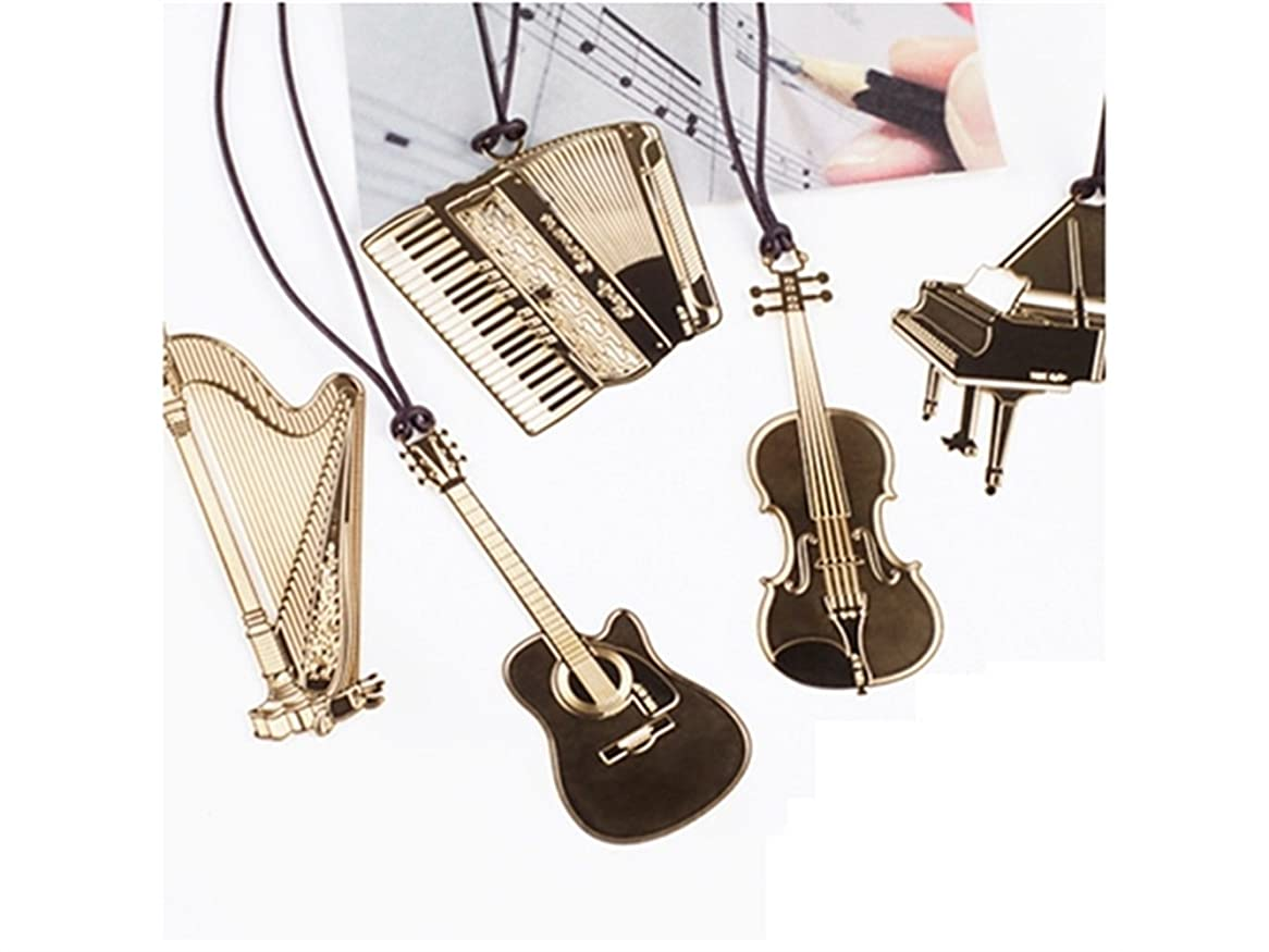 鉛快い罰FenBuGu-JP 学生教師 6本の楽器型ブックマークメタルブックマーク