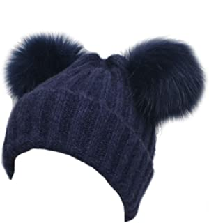 SP Sophia Collection Cozy Winter Knitted Beanie with Faux Fur Double Pom Pom