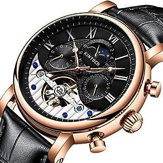 58bb2c2c4 BG7 Reloj mecánico de Cuero para Hombre, de Sol, Luna y Estrellas,  Completamente