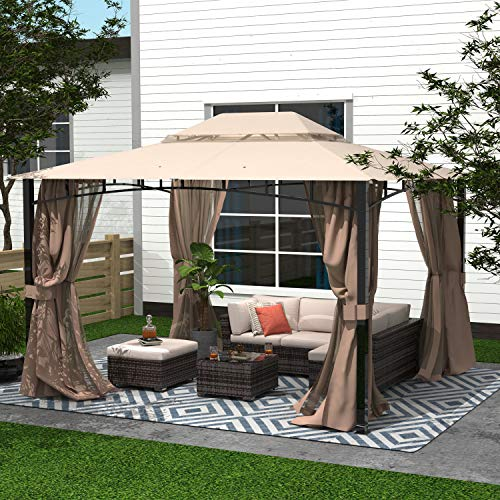 Cloud Mountain Finefind Patio Gazebo with Mosquito Netting Outdoor Gazbeo Canopy 10x12 Backyard Double Roof Vented, Sand