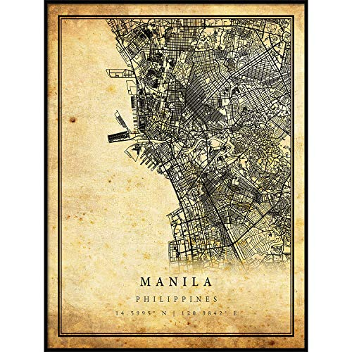 Manila map Vintage Style Poster Print   Old City Artwork Prints   Antique Style Home Decor   Philippines Wall Art Gift   map Painting 11x14