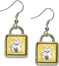 Lucky Beckoning Cat Maneki Neko Fortune Japanese Kawaii Dangling Drop Square Charm Earrings