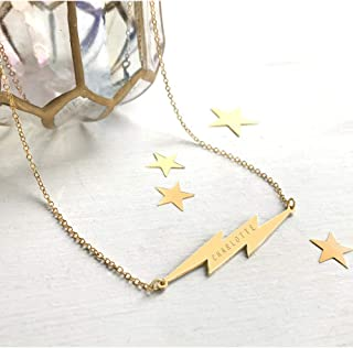 Personalised Gold Lightning Bolt Necklace