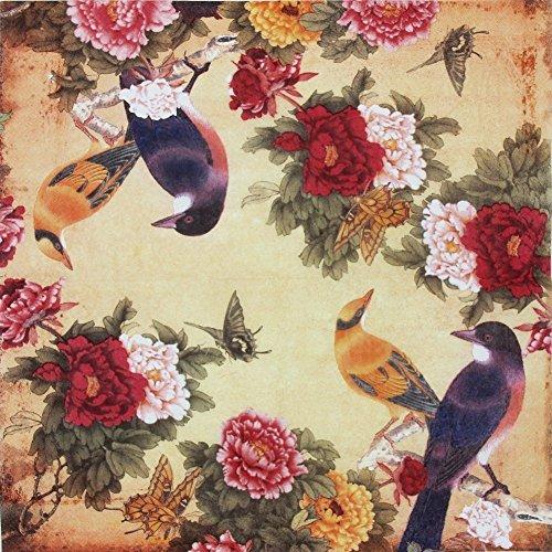 ALINK Paper Napkins Vintage Floral Pattern, Alink Printting Peony Birds...