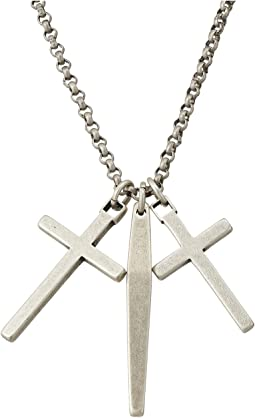 "Gunmetal Dangle Cross and Bar Necklace with 18"" Chain"