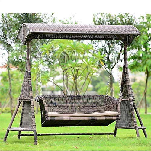 Silla Colgante con Soporte, Hamaca giratoria Silla de jardín para jardín Banco a Prueba de Lluvia de 3 plazas con Dosel Desmontable para balcón al Aire Libre