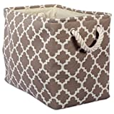 DII Printed Polyester, Collapsible and Convenient Storage Bin to Organize Office, Bedroom, Closet, Kid's Toys, Laundry  -Small Rectangle, Brown Lattice