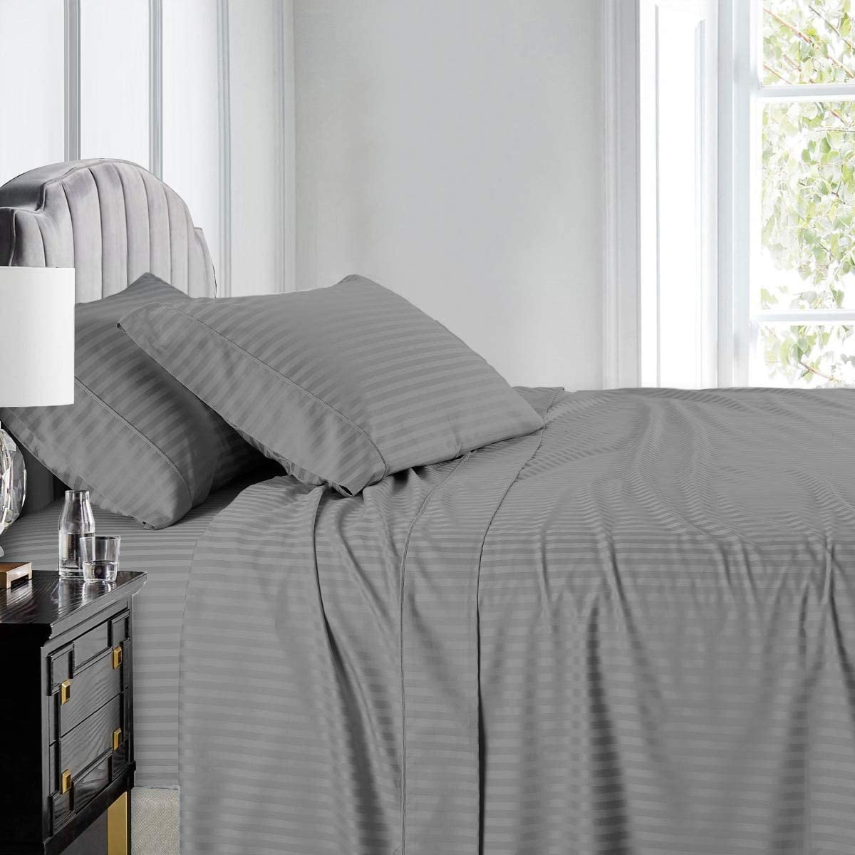 Black Solid Yawn Bedding Oversized Luxurious 600 Thread Count 100/% Egyptian Cotton 1Pc Flat Sheet Top Sheet 132 Inches x 110 Inches Oversized