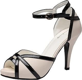 Getmorebeauty Womens Vintage High Heel Shoes White Black Peep Toes Buckle Dress Sandals