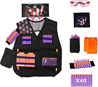 Allinthebox Kids Tactical Vest Kit for Nerf Gun N-Strike Elite Series with Refill Darts, Reload Clips, Dart Pouch, Kids Tactical Mask, Wrist Band and Protective Glasses for Boys ,Girls (Style 1)
