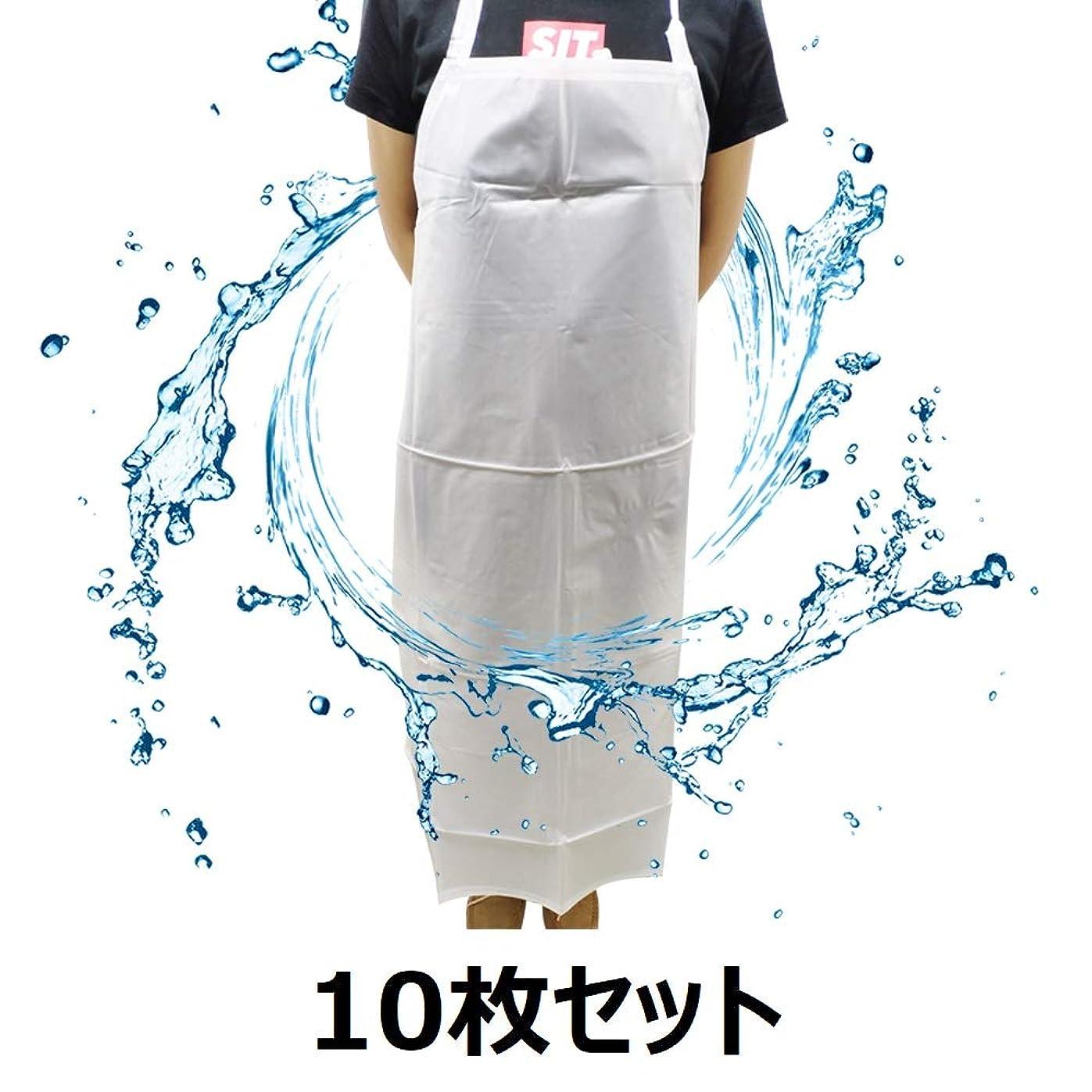 備品球状新しさセーフラン(SAFERUN) PVC防水エプロン ホワイト(半透明)10枚セット 軽作業向き 身幅(平置き)約67cm 長さ約112cm 厚さ0.18mm ※完全防水ではございません