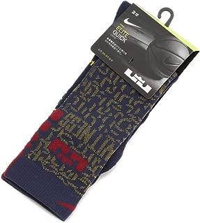 Unisex LeBron Elite Quick Crew Basketball Socks COLLEGE NAVY/UNIVERSITY GOLD/TEAM RED (SMALL)