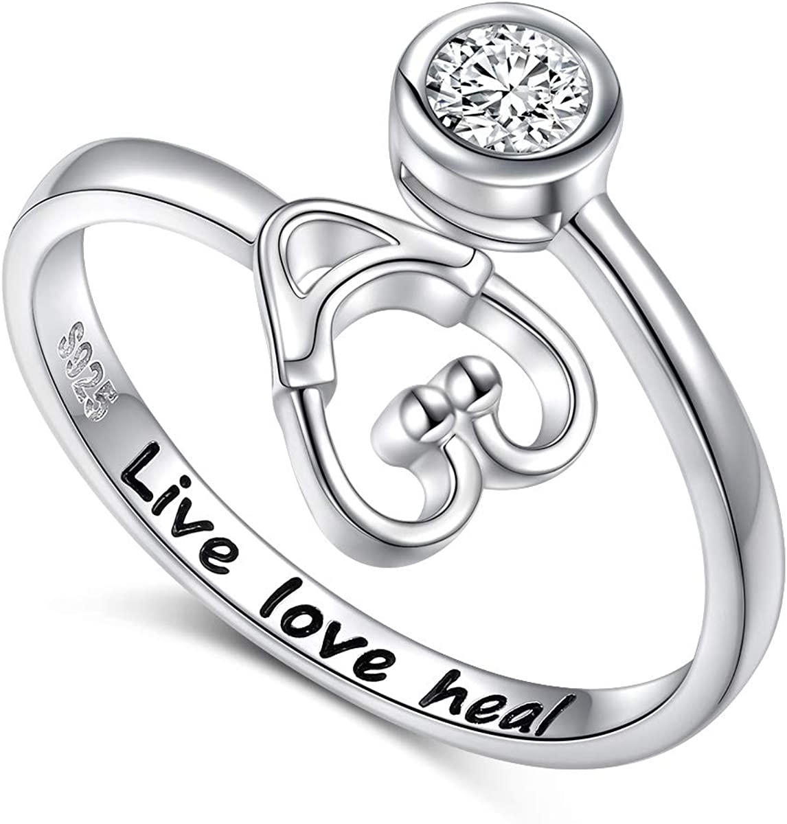 925 Sterling Silver Live Popular Love Stethoscope Heal Ranking TOP4 Jewelry for Ring