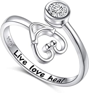 925 Sterling Silver Live Love Heal Stethoscope Ring Jewelry for Women Nurse Doctor Medical Student Graduation Gift