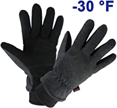 OZERO Winter Gloves Water Resistant Thermal Glove with Deerskin Suede Leather and Insulated Polar Fleece for Driving/Cycli...