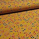 Schickliesel Jersey Stoff Meterware Rainbow Dots (senfgelb)