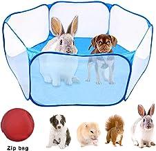 WEONE Jaulas para Animales pequeños, Parque de Juegos portátil para Mascotas Ejercici, Transpirable Plegable Parque para Conejillos de Indias Conejos Hámster Chinchillas Erizos (Azul)