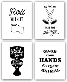 Chsdec Funny Words Quote&Signs Art Prints for Bathroom Toilet(8x10 Inches Set of 4-Unframed) Lettering Art Poster,Modern Washroom Picture Black and White Wall Art,Canvas Kids Bathroom Home Wall Decor