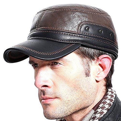 Molodo Men Winter Leather Fur Baseball Newsboy Cap Ear Flap Trapper Hunting Hat Brown/Black