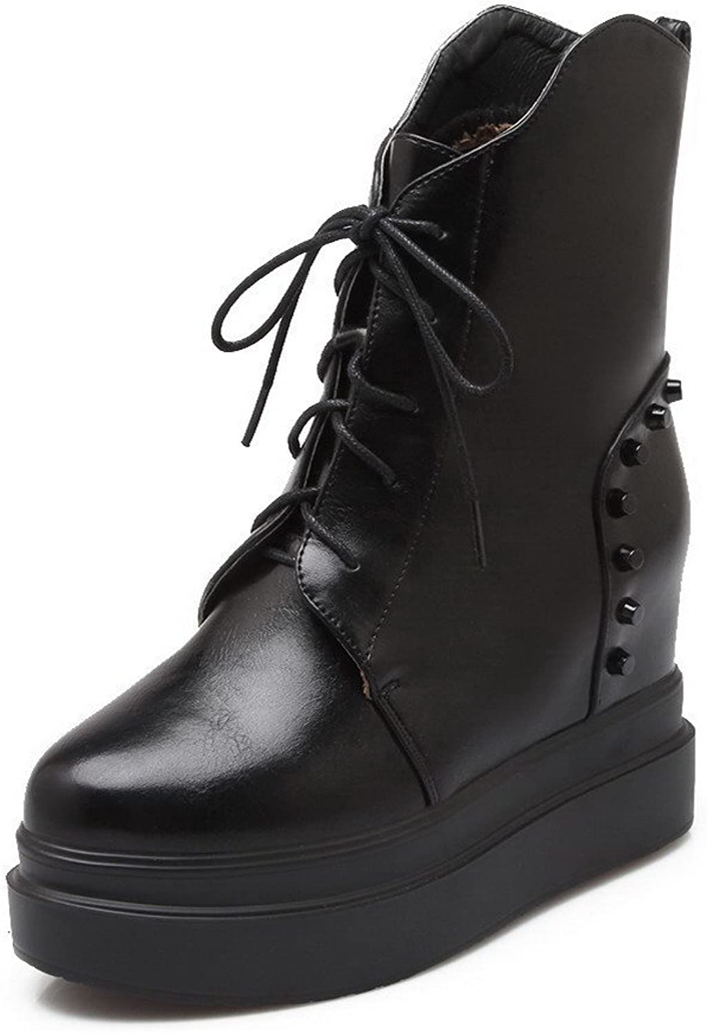AmoonyFashion Women's Soft Material Closed Round Toe Solid Boots with Adornment