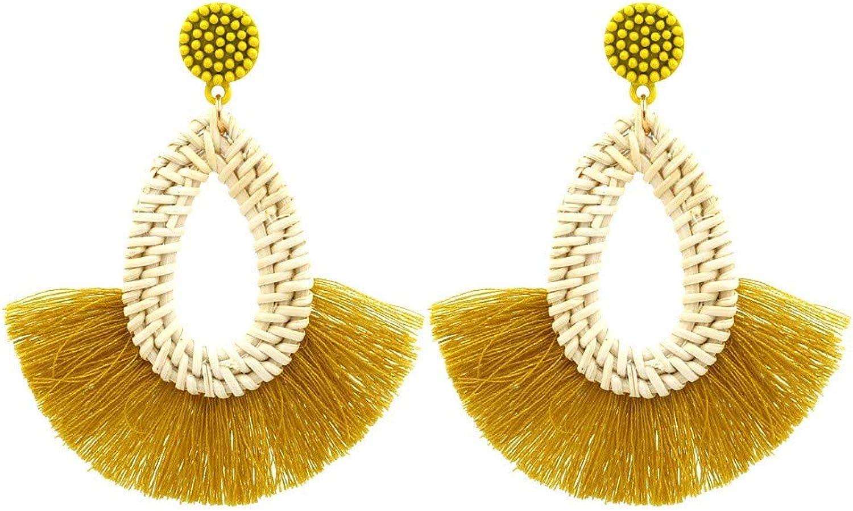Women's Earrings Fashion Bohemian Ethnic Tassel Earrings Europe and America Exaggerated MultiLayer Rattan Woven Earrings Yellow, Female Birthday Gift