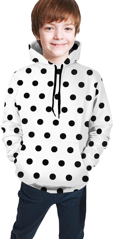 ALOVEUZ Classic Black and White Polka Dot Hoodies for Kids Boys Girls Hooded Sweatshirt Pullover Long Sleeve Sweaters