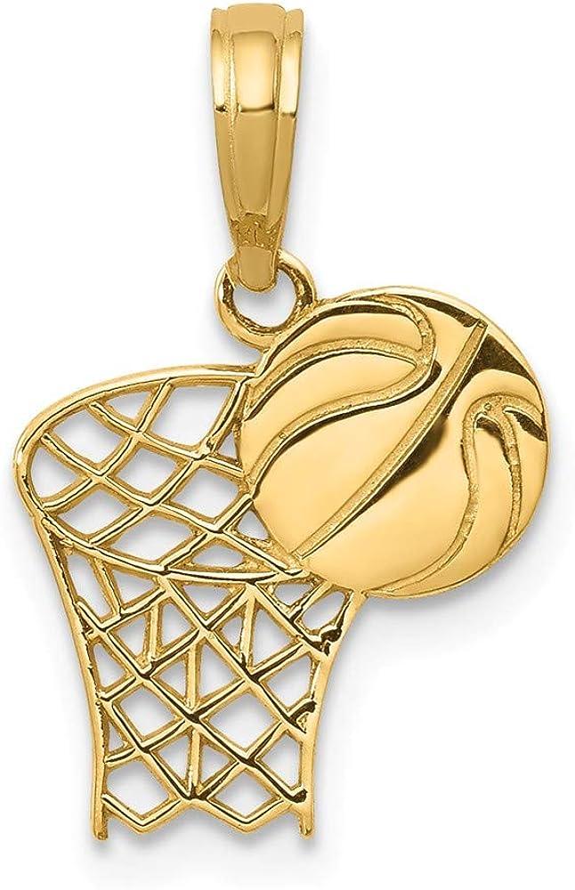 14k Yellow Bombing free shipping Gold Basketball Hoop and Ball Penda Regular dealer mm 18 12 W- L-
