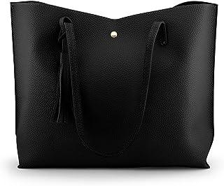 Oct17 Women Large Tote Bag - Tassels Faux Leather Shoulder Handbags, Fashion Ladies Purses Satchel Messenger Bags