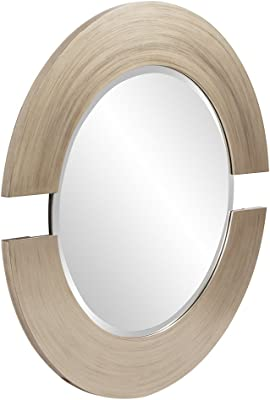 Howard Elliott Hanging Beveled Round Orbit Wall Mirror, Brushed Silver Leaf, 38 Inch