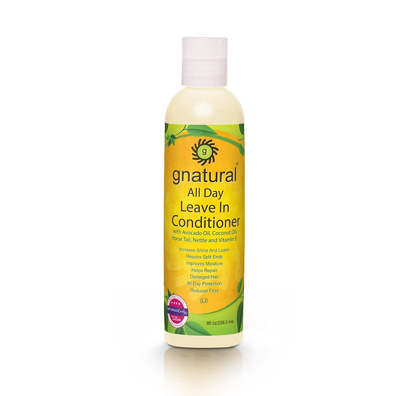 Gnatural All Day Leave-In Conditioner - Coconut Oil, Avocado Oil, Wheat Germ Oil, Grapeseed Oil, Nettles Extract, Horsetail Extract, Chamomile Extract That Gives Lush, Radiant Curls without Frizz 8oz