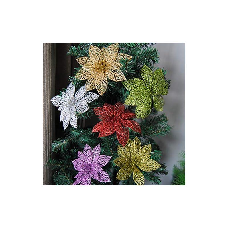 silk flower arrangements imikeya 10pcs glitter poinsettia artificial christmas poinsettia artificial flower for christmas flower arrangements wreaths table centerpiece gold