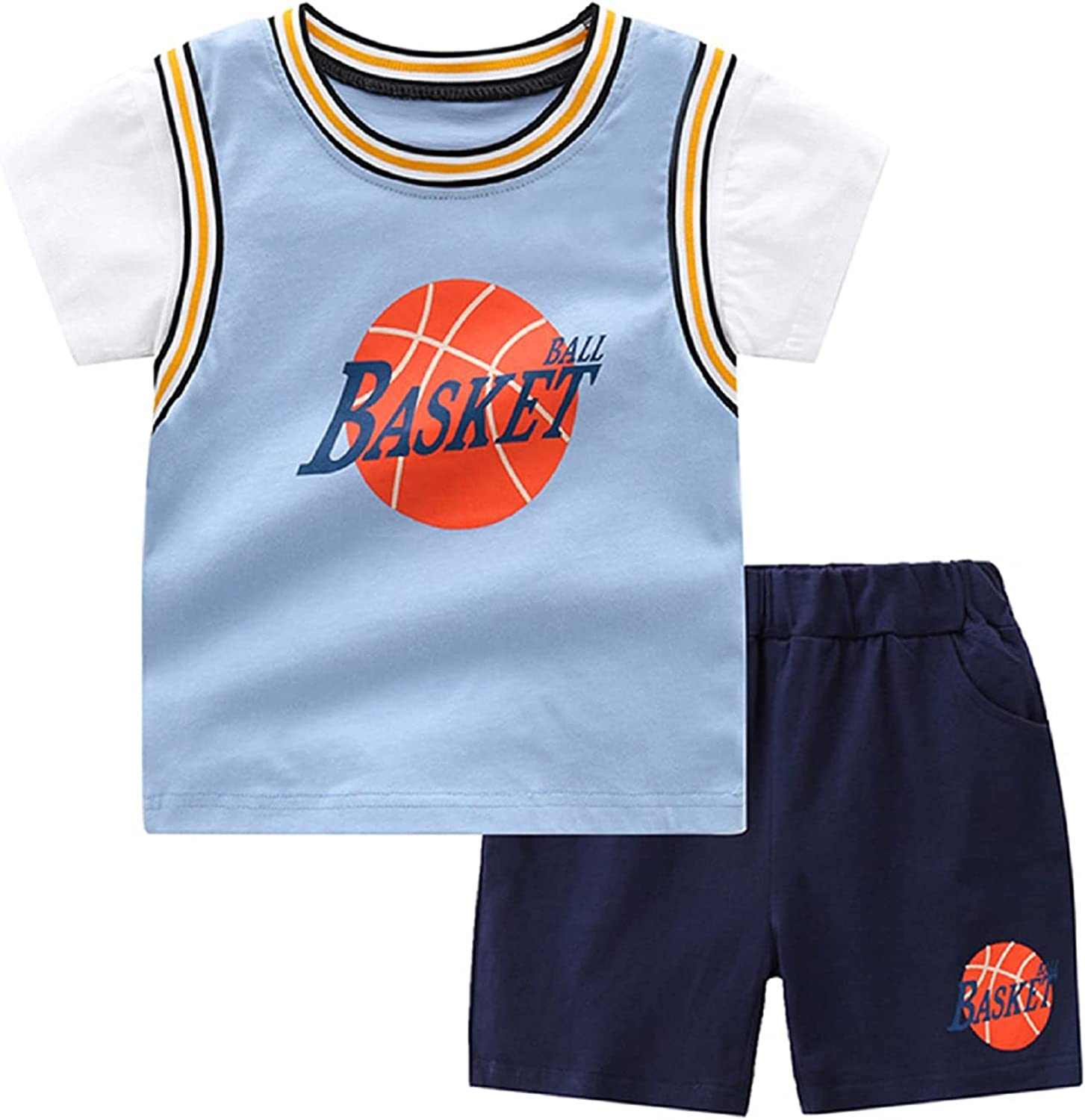 WINZIK Toddler Boys Basketball Outfit Short Sleeve Athletic T-Shirt Tops & Shorts Baby Kids Sports Suit Summer Clothes 1-7T