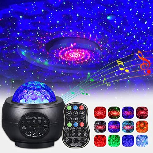 LED Sternenhimmel Projektor, 360° Drehen Dimmbar Sternenlicht Projektor mit Fernbedienung Bluetooth Lautsprecher, Nachtlicht Sternenhimmel mit USB für Schlafzimmer Dekoration Weihnachten und Party