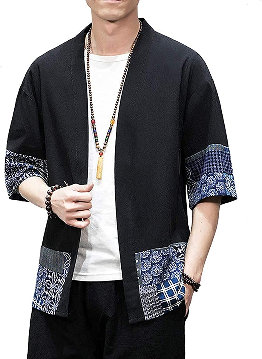 Men's Kimono Jackets Cardigan Lightweight Casual Cotton Linen Blended 3/4 Sleeve Open Front Coat Outwear