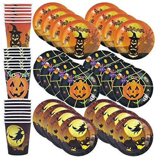 HusDow Halloween Tableware Halloween- Papiergeschirrset Geschirrset inklusive 90 Stück Pappteller und Pappbecher mit 3 Mustern Einmalige Verwendung für Halloween Party Deko