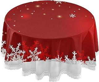 xigua Kerst Sneeuwvlok Ronde Tafelkleed Wasbaar Polyester Tafelhoes 60 inch voor Hallloween, Thanksgiving en Kerst Party D...