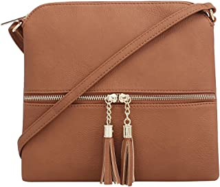 Lightweight Medium Crossbody Bag with Tassel and Zipper Pocket