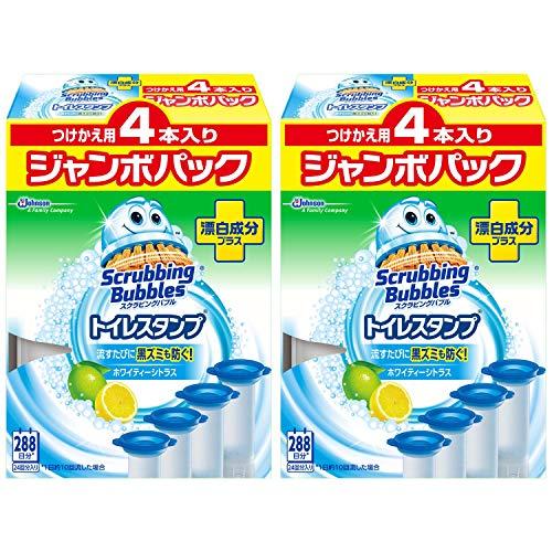 【まとめ買い】 スクラビングバブル トイレ洗浄剤 トイレスタンプ 漂白成分プラス ホワイティーシトラスの香り 付替用 ジャンボパック (4本入り×2箱) 8本セット 48スタンプ分