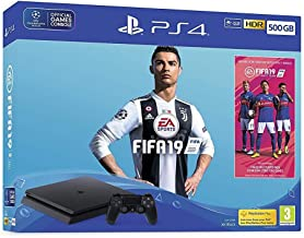 Sony PlayStation 4 Slim 500GB Console with 1Dual Shock4 Wireless Controller and FIFA 19 - Black