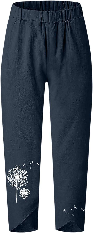 Women's Pants Summer Boho Dandelion Challenge the lowest price Elastic High Lo Waist Tulsa Mall Casual