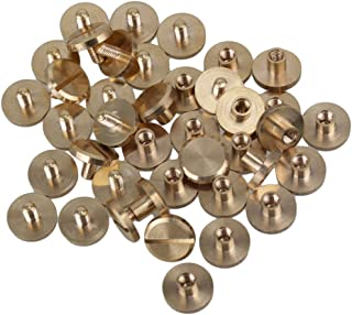 Solid Brass Flat Head Nail Rivets Chicago Screws for DIY Leather Craft Purse Pack of 20 (10x4x4mm)