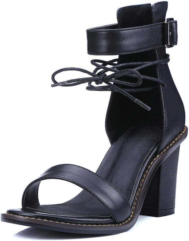 Charismatic-Vibrators Women Sandal Square High Heel Summer Zipper Brown Women shoes Genuine Leather Ladies shoes