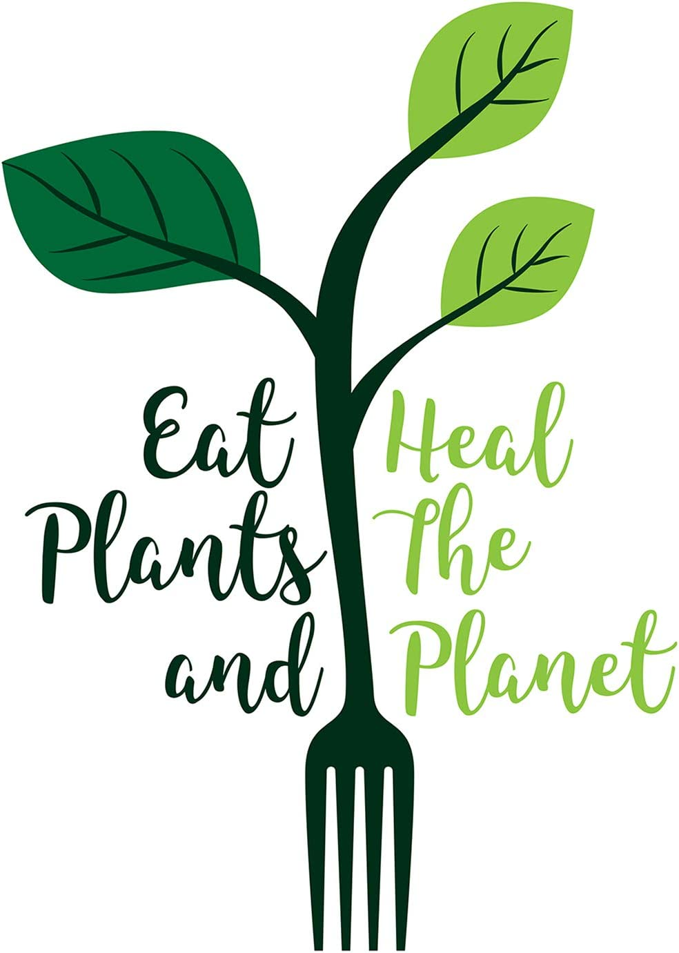 Eat Plants and Heal The Planet - 8x10 Unframed Vegan and Vegetarian Pun Wall Decor Art Print on a White Background - Great Funny Gift for Vegetarians, Vegans and Plant-Based Eaters