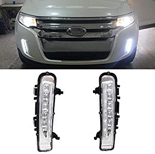 iJDMTOY Switchback LED Daytime Running Lights Compatible With 2011-14 Ford Edge w/Turn Signal Lights, OEM Fit Lower Bumper Assy Powered by (6) Xenon White LED as DRL & (6) Amber LED as Turn Signals