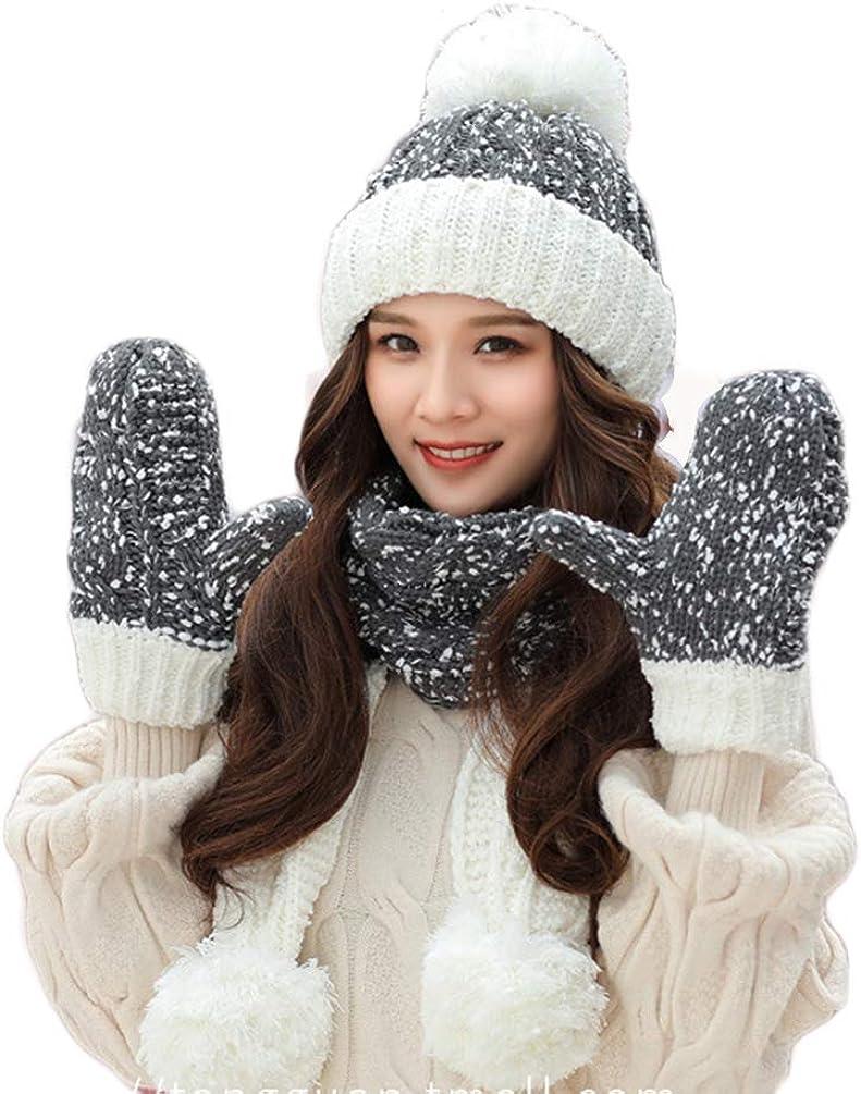 FeelMeStyle Women Girl Scarf Hat Gloves Set Knitted Hat Beanie Mitten Scarf Christmas Winter Gift Set