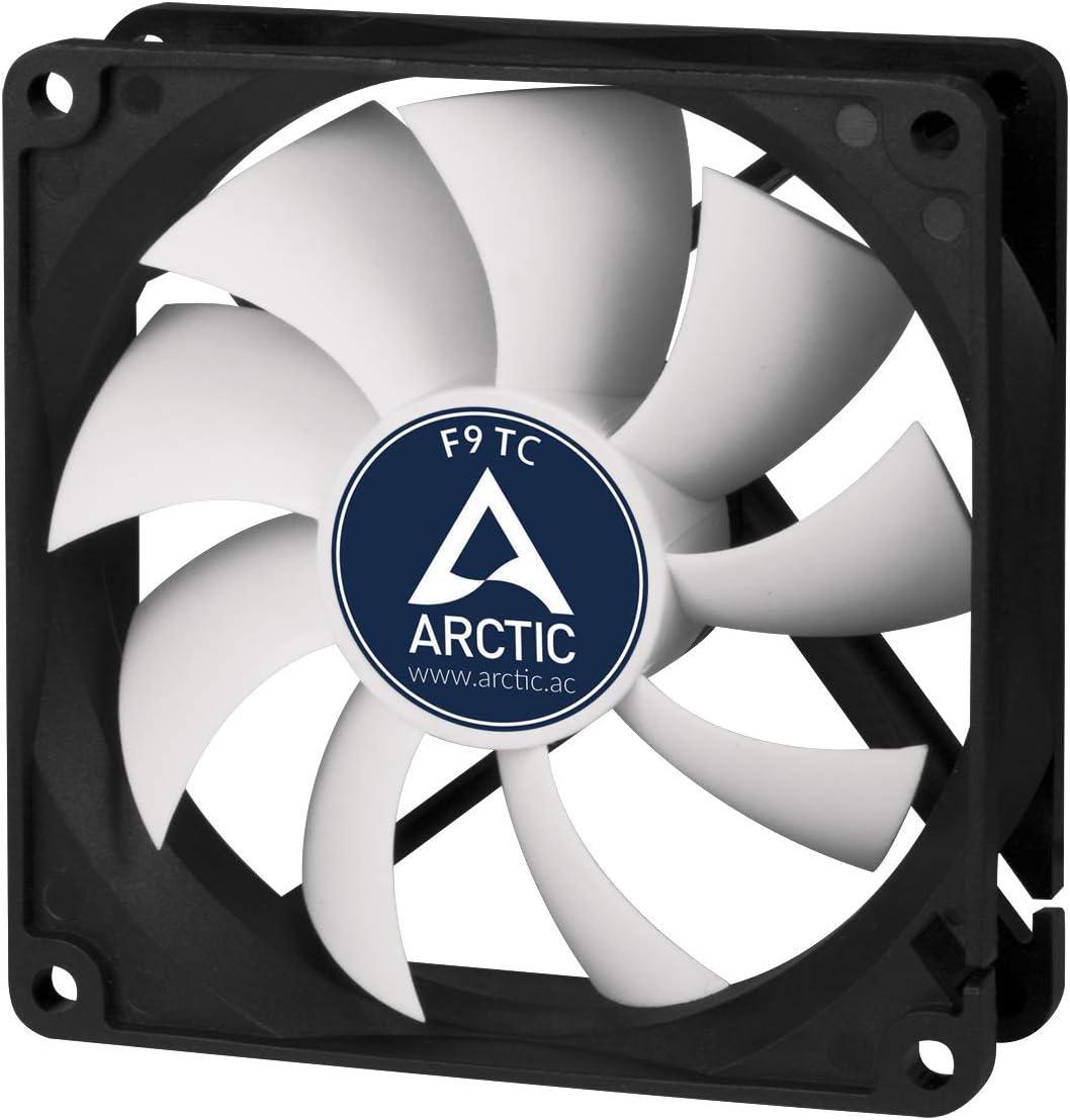 ARCTIC F9 TC – 99 mm Ventilador de Caja para CPU con Control de Temperatura, Motor Muy Silencioso con Exclusivo Sistema Antivibración, Computadora, 400-1800 RPM – Gris/Blanco