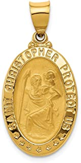 14k Yellow Gold Saint Christopher Medal Pendant Charm Necklace Religious Patron St Fine Jewelry For Women