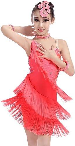 GBDSD Enfants Danses Latines Tassel Robe Strap Costume Danse Paso Doble Concours de Danse pour Enfants vêtements survêtements vêtements d'Exercice, rouge, L
