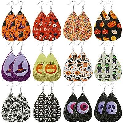 Halloween Earrings for Women Girls Faux Leather Teardrop Dangle Earrings Jewelry Gifts for Halloween Costume Party Decoration Suppliess