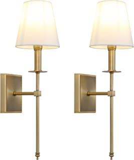 Permo Set of 2 Classic Rustic Industrial Wall Sconce Lighting Fixture with Flared White Textile Lamp Shade and Antique Brass Tapered Column Stand